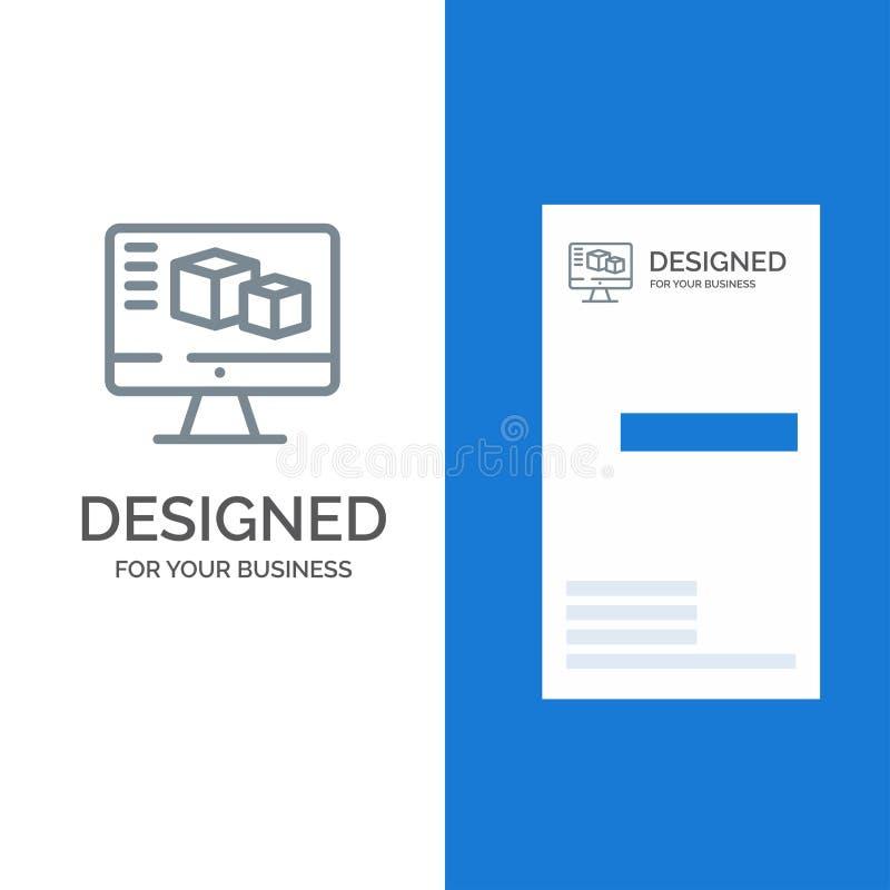 Computer, Monitor, Box, Computing Grey Logo Design and Business Card Template stock illustration