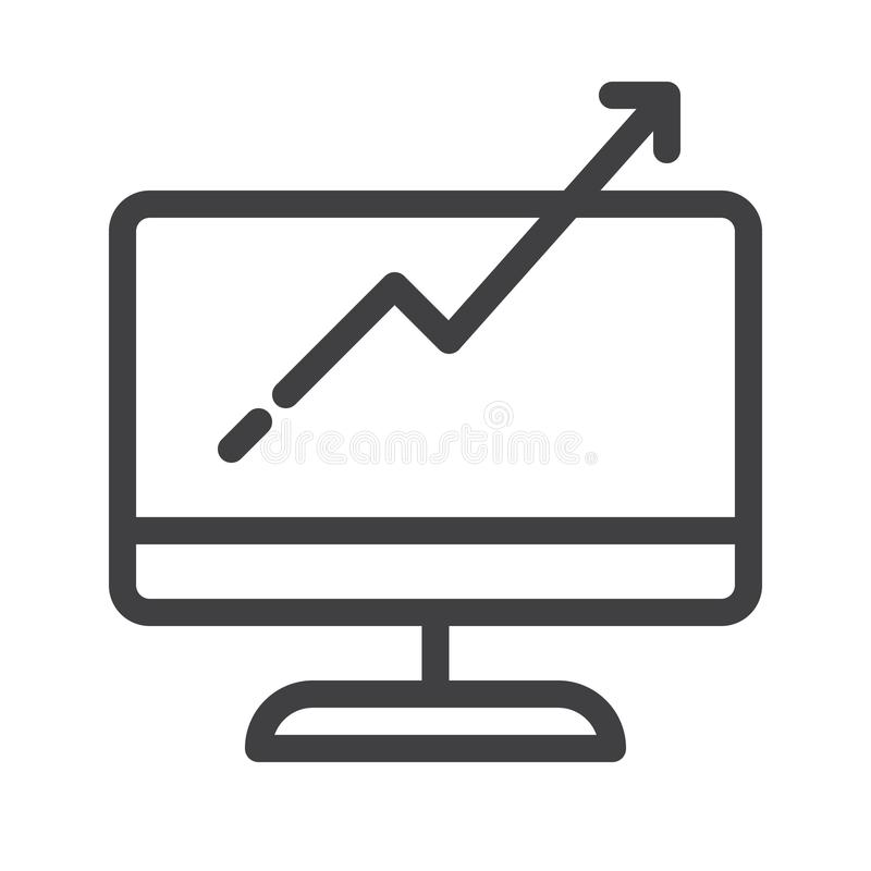 Computer monitor with business graph growing chart line icon. Outline vector sign, linear style pictogram isolated on white. Symbol, logo illustration royalty free illustration