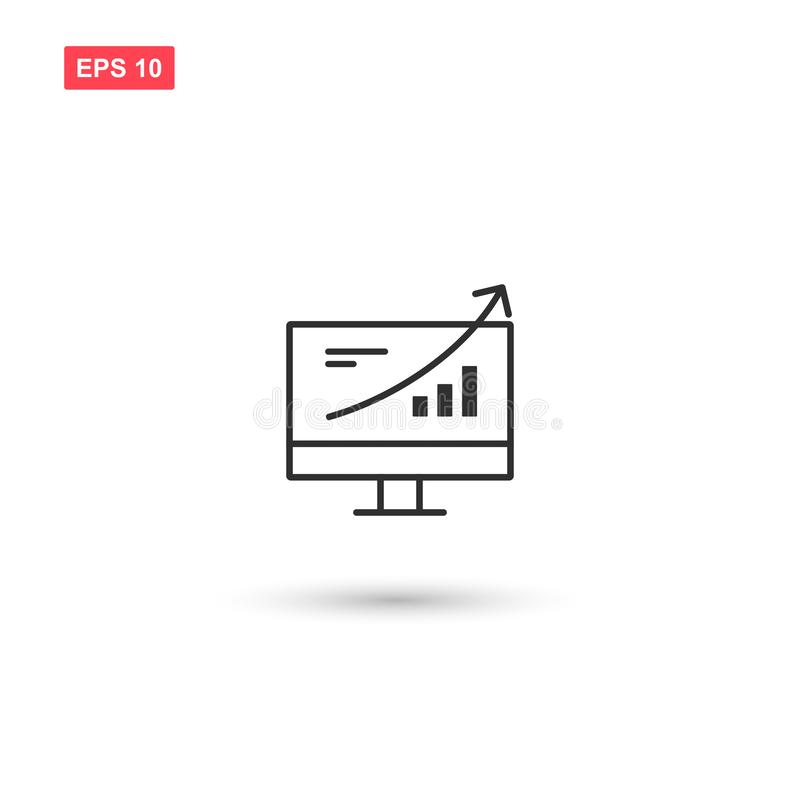 Computer monitor business growing up vector icon isolated 3 stock illustration