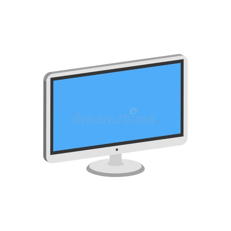 Computer monitor, display symbol. Flat Isometric Icon or Logo. royalty free illustration
