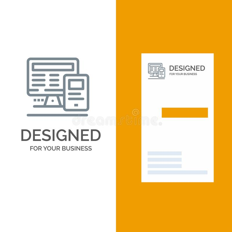 Computer, Monitor, Education, Calculate Grey Logo Design and Business Card Template vector illustration