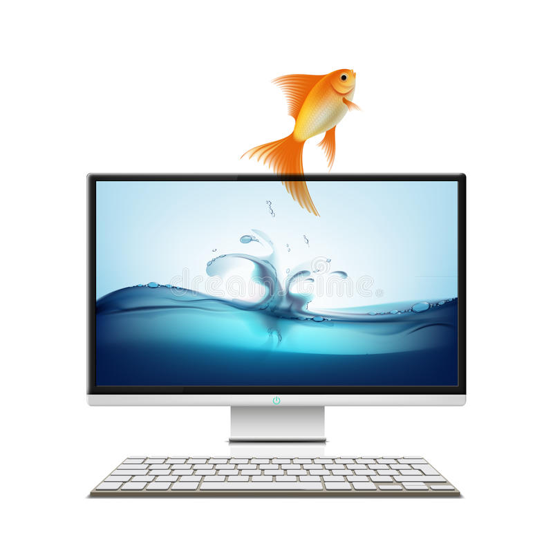 Download Computer Monitor And Goldfish. Stock Illustration - Image: 69216705