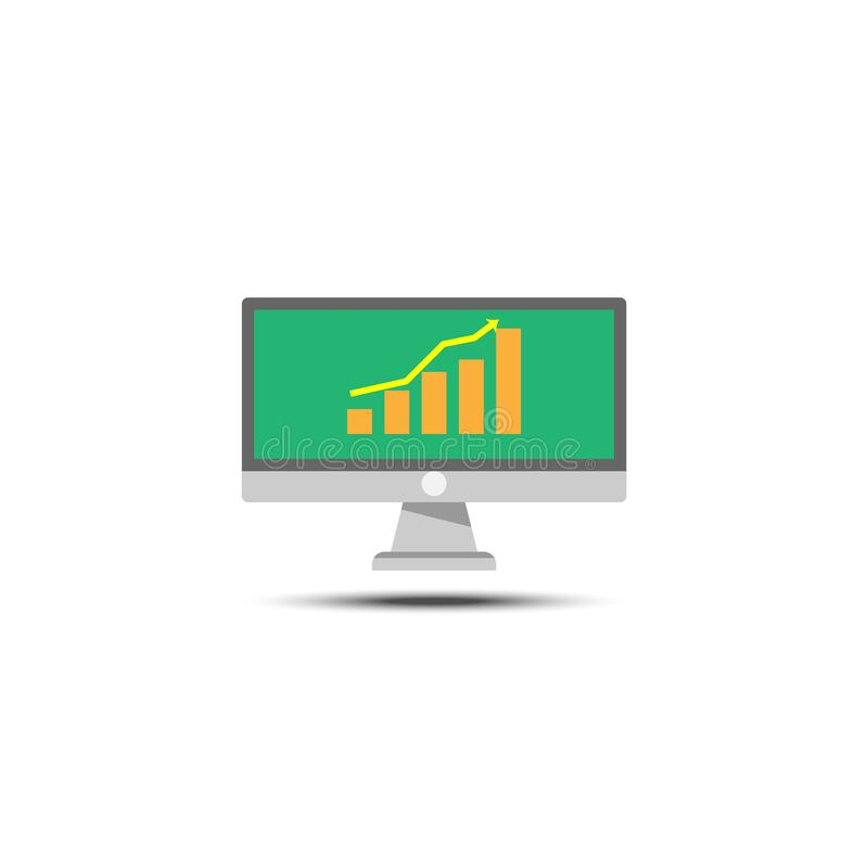 Computer monitor and grown graph flat icon on white background ilustracja wektor