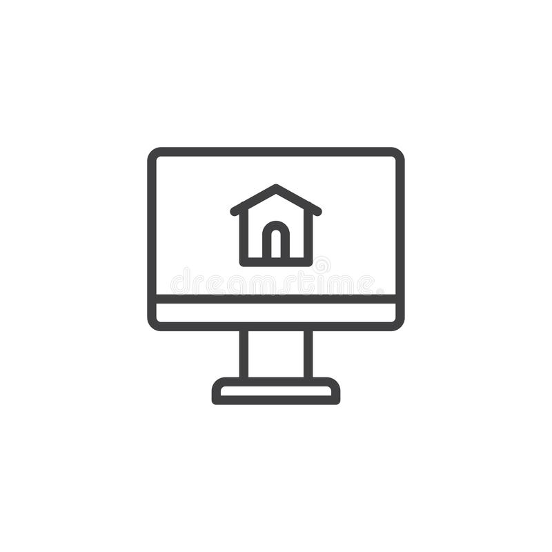 Computer monitor with house line icon vector illustration