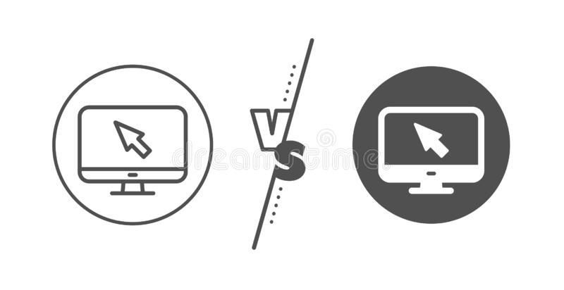 Computer or Monitor icon. Mouse cursor sign. Vector stock illustration