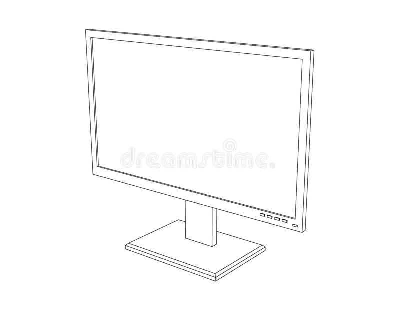 Computer monitor. Isolated on white background. Vector outline i royalty free illustration