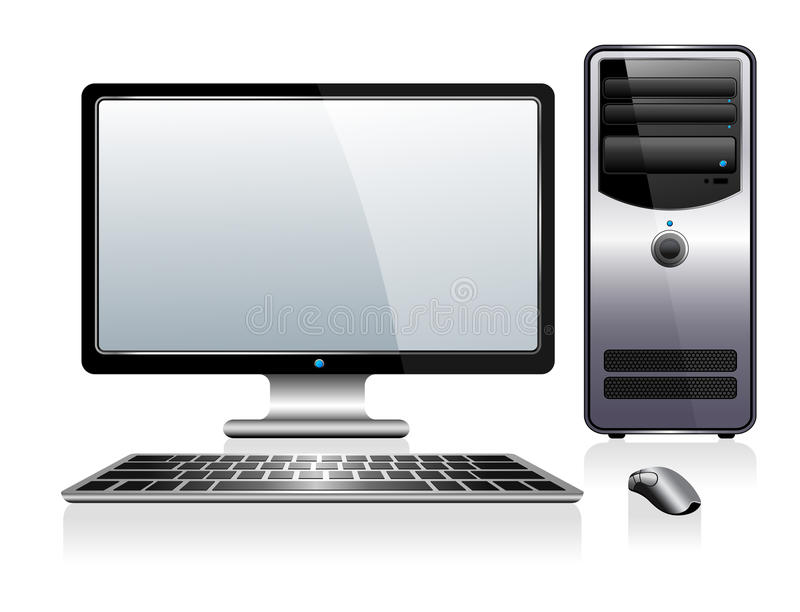 Computer with Monitor Keyboard and Mouse stock illustration