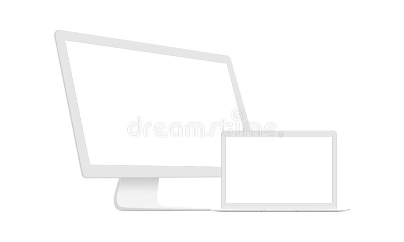 Computer Monitor With Laptop Clean Mockups. Isolated On White Background. Vector Illustration stock illustration