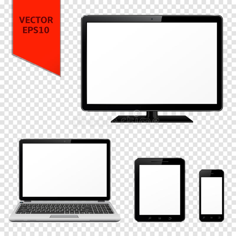 Computer monitor, laptop, tablet pc and smart phone with blank screen. Isolated on transparent background royalty free illustration
