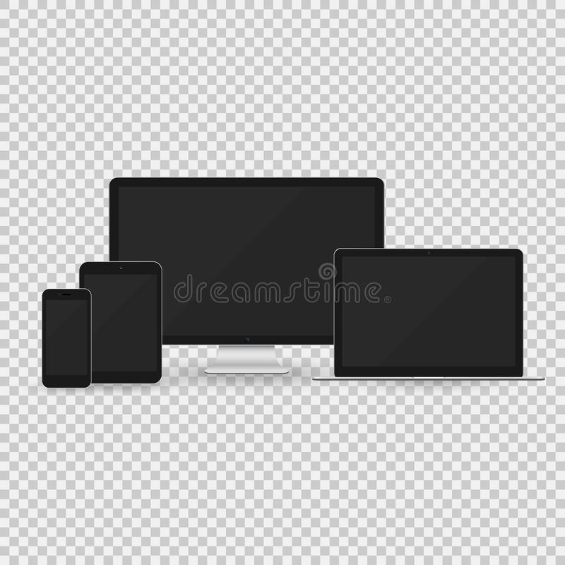 Computer monitor, laptop, tablet pc and smart phone royalty free illustration