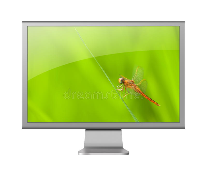 Computer monitor LCD with beautiful wallpaper royalty free illustration