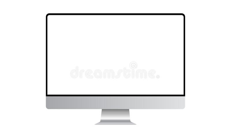 Computer monitor mock up with blank frameless screen. Front view. Vector illustration stock illustration