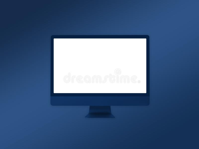 Computer Monitor Mockup Template On Gradient Blue Background Stock ...