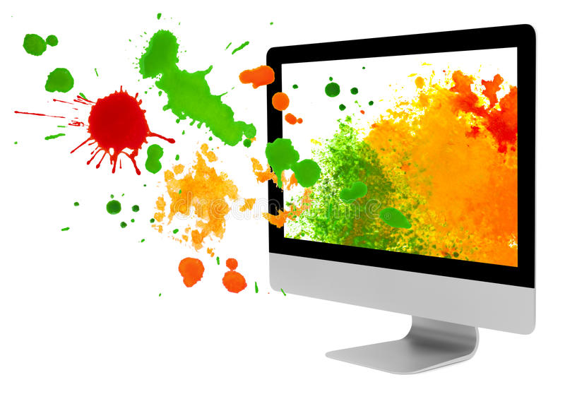 Computer monitor with paint blots and splashes on white background.  royalty free stock photo