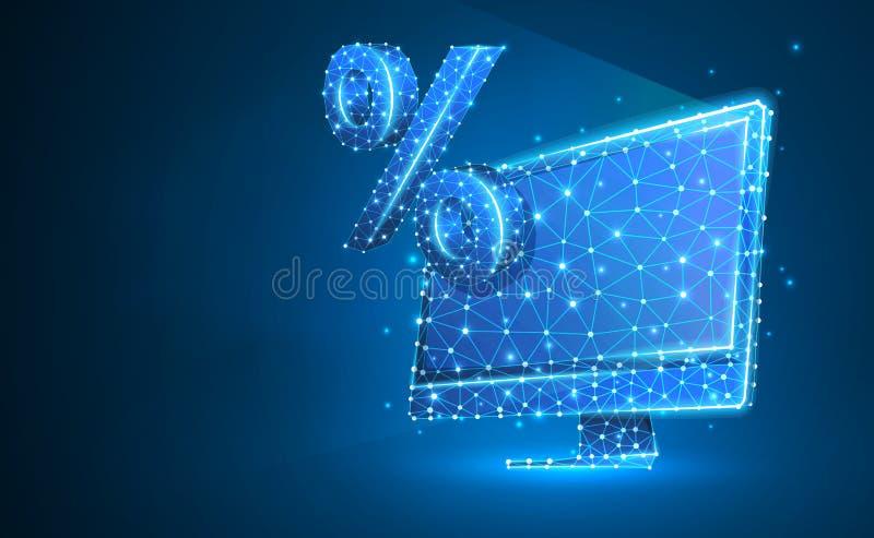 Computer monitor, percent market symbol. Devices, calculation, discount, concept. Abstract, digital, wireframe, low poly mesh,. Computer monitor, percent market vector illustration