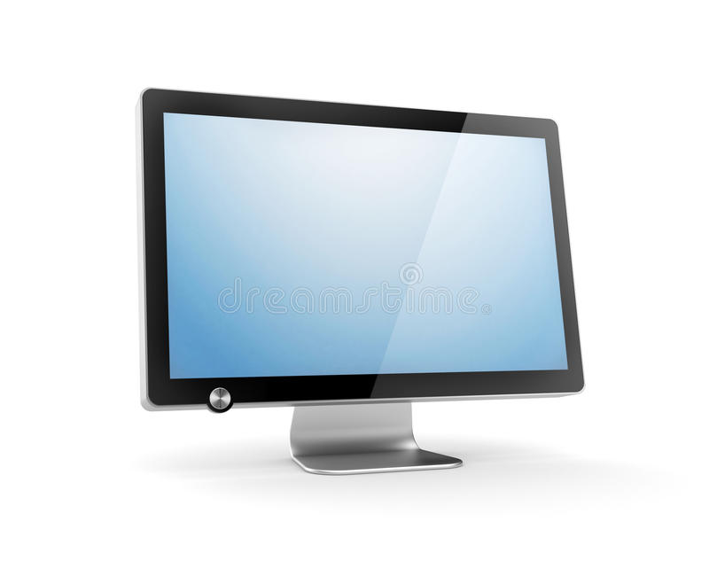 Computer Monitor with reflection stock illustration
