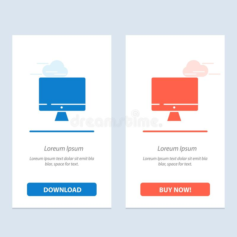 Computer, Monitor, Screen, Hardware  Blue and Red Download and Buy Now web Widget Card Template vector illustration
