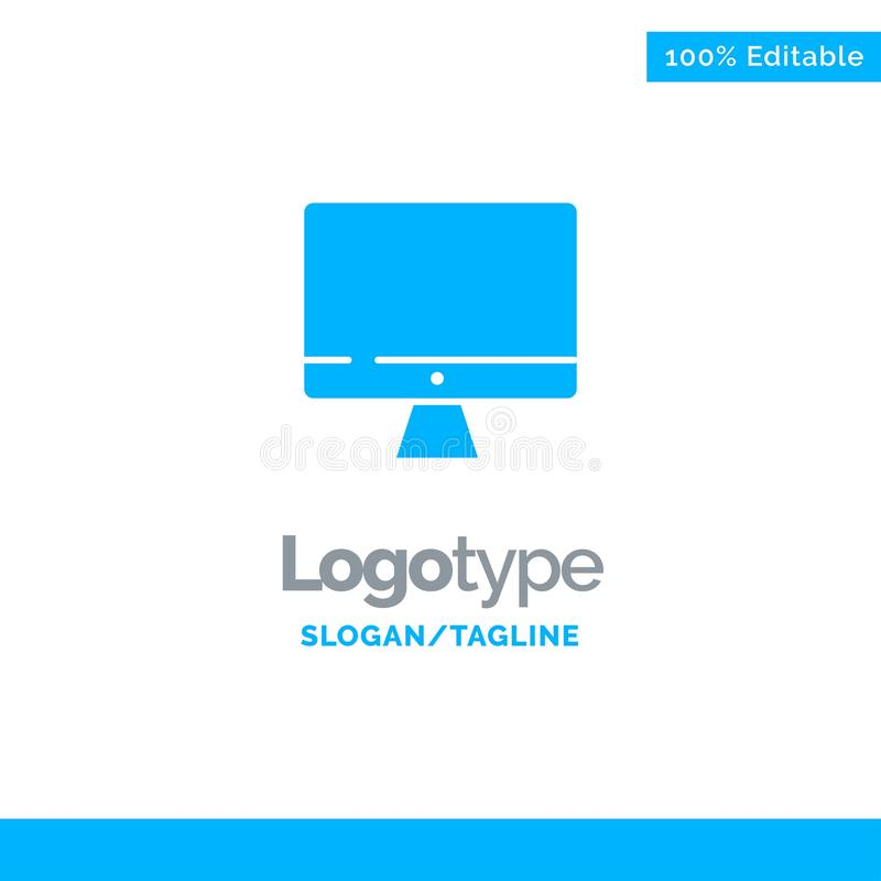 Computer, Monitor, Screen, Hardware Blue Solid Logo Template. Place for Tagline royalty free illustration
