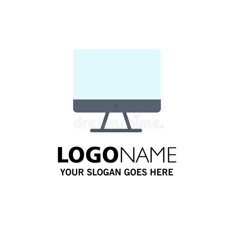 Computer, Monitor, Screen, Hardware Business Logo Template. Flat Color vector illustration