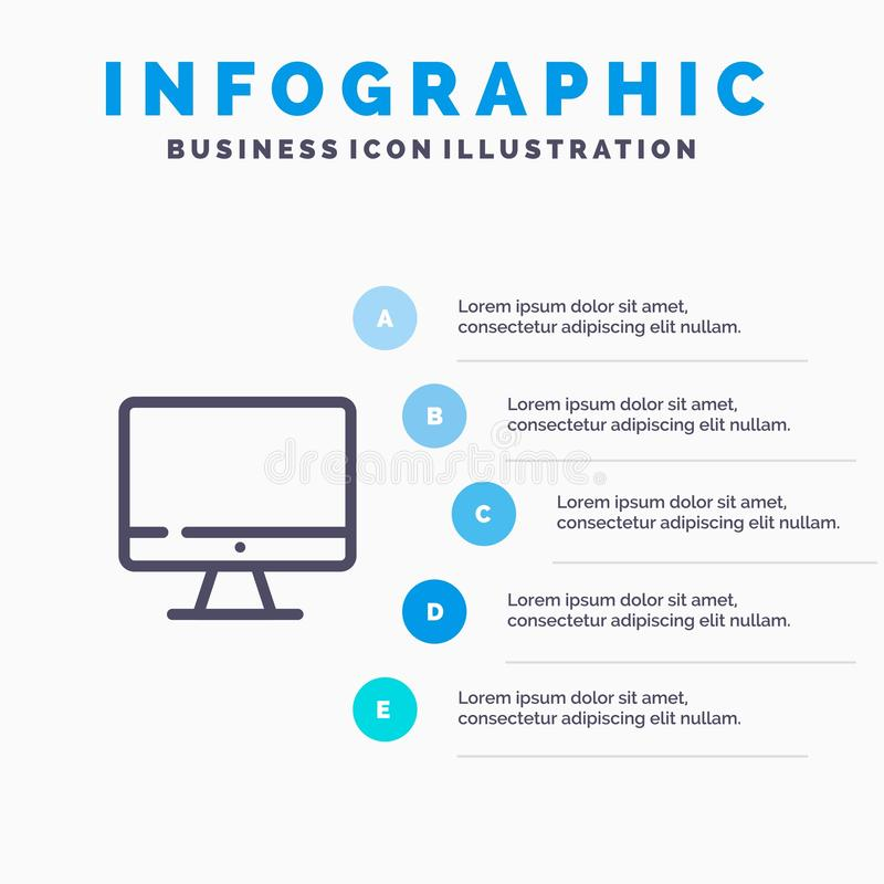 Computer, Monitor, Screen, Hardware Line icon with 5 steps presentation infographics Background royalty free illustration