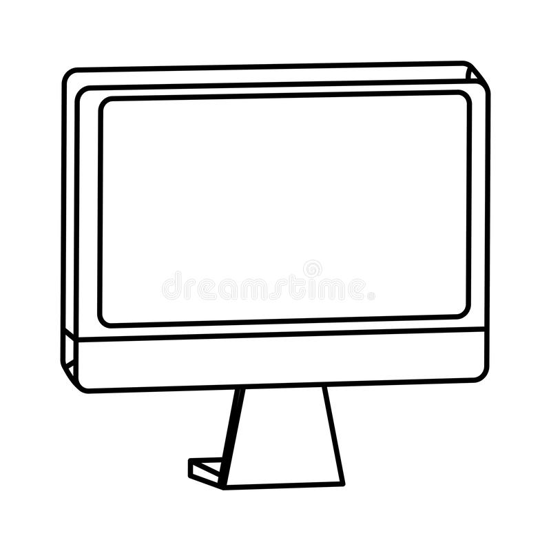 Computer monitor screen hardware technology in black and white. Computer monitor screen hardware technology ,vector illustration graphic design stock illustration