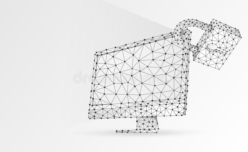 Computer monitor with security lock symbol. Devices protection, password, privacy concept. Abstract, digital, wireframe, low poly. Mesh, vector white origami 3d vector illustration