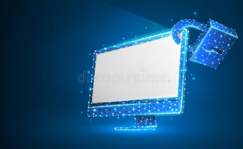 Computer monitor, security lock symbol. White screen. Devices protection, password, privacy concept. Abstract, digital, wireframe. Low poly mesh, vector blue royalty free illustration
