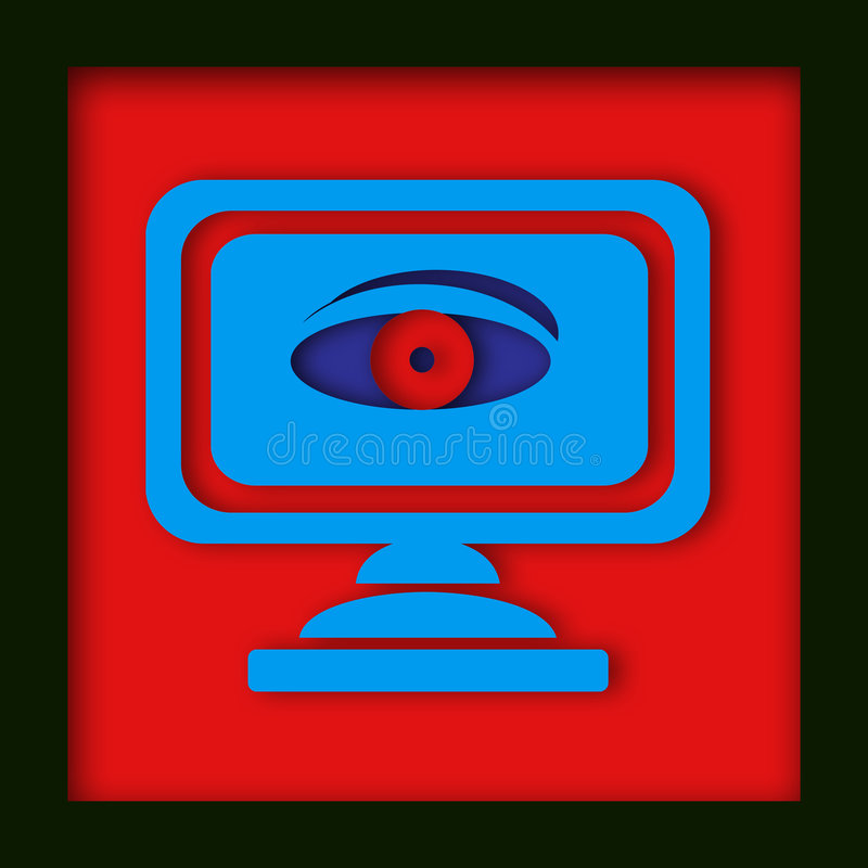 Computer monitor with spy eye royalty free illustration