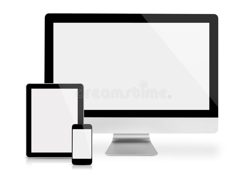 Computer monitor, tablet and phone royalty free stock photos