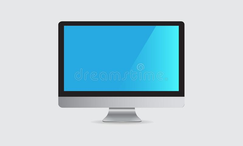 Computer monitor vector design with blue screen. On white background. You can use it as mock up stock illustration