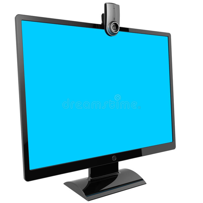 Computer monitor and webcam. Video call concept. Flat black computer monitor with blank cyan screen. Web camera included. 3d render (Hi-Res). Isolated on white royalty free illustration