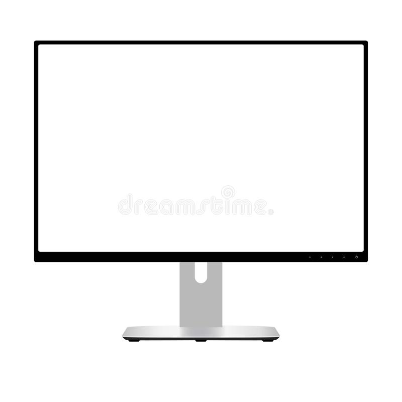 Computer Monitor. Wide Screen Lcd Display. Vector. Computer Monitor. Wide Screen Lcd Display. Modern Flatscreen Technology Device Vector Illustration. Electronic stock illustration