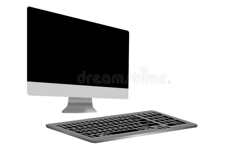 Computer-Monitor, wie Mac mit leerem Bildschirm und Tastatur Film, Grafik Auch im corel abgehobenen Betrag stock abbildung
