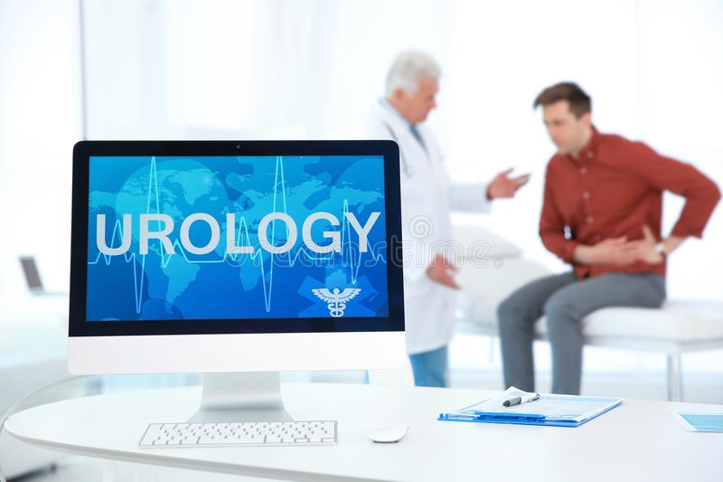 Computer monitor with word UROLOGY royalty free stock photos