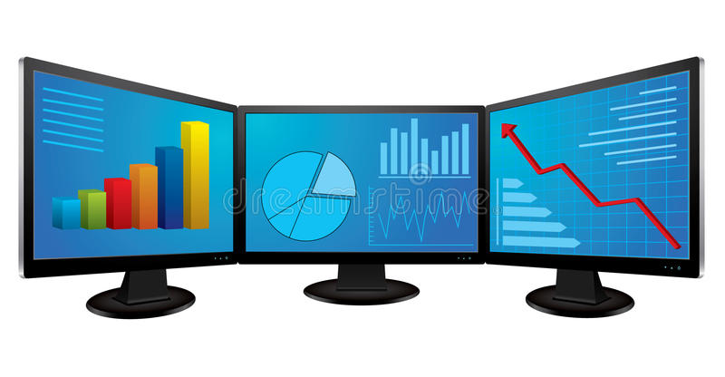 Computer Monitors With Financial Graphs Stock Photos