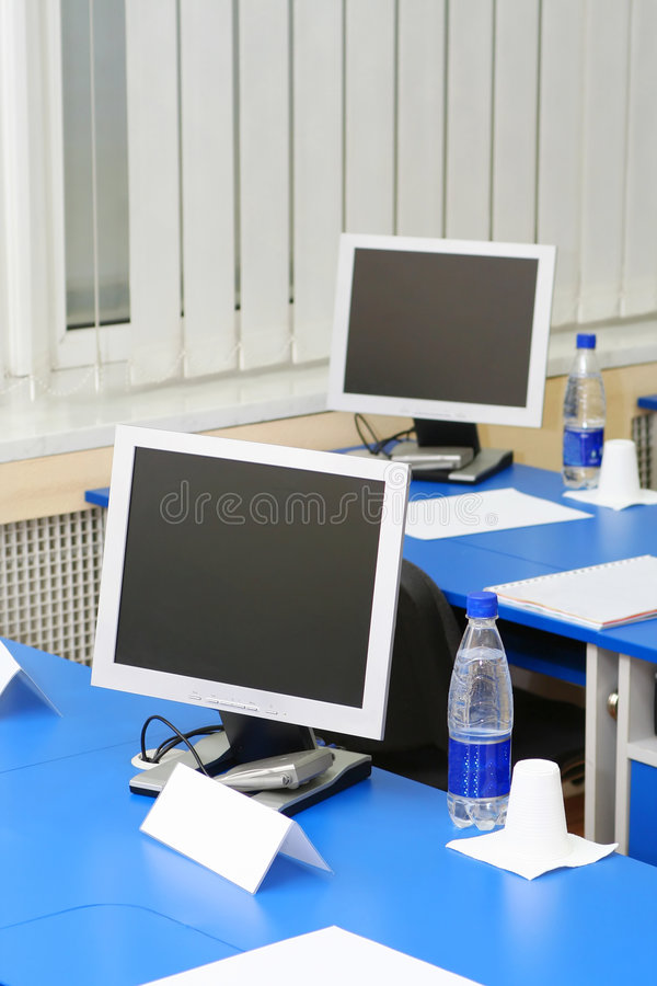 Computer Monitors In The Study Royalty Free Stock Photos
