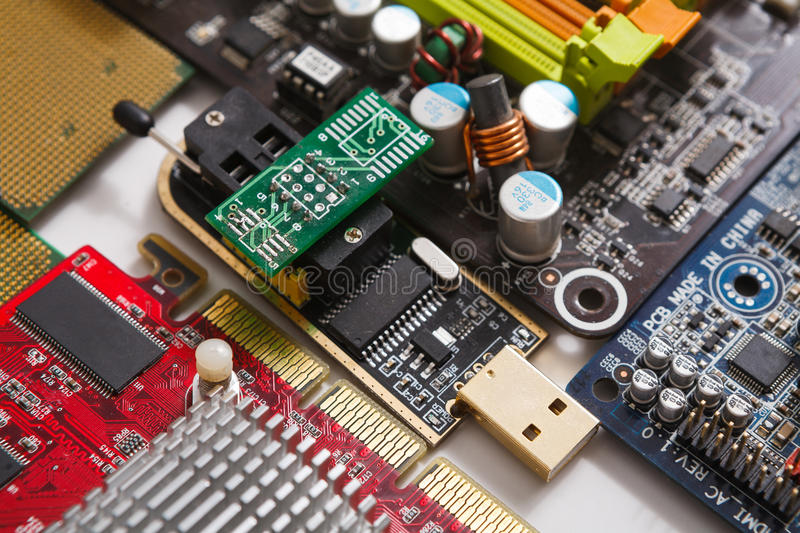 Computer motherboard components close up. Computer motherboard close up. Components of microprocessor. Technology, science and electronics concept stock photo