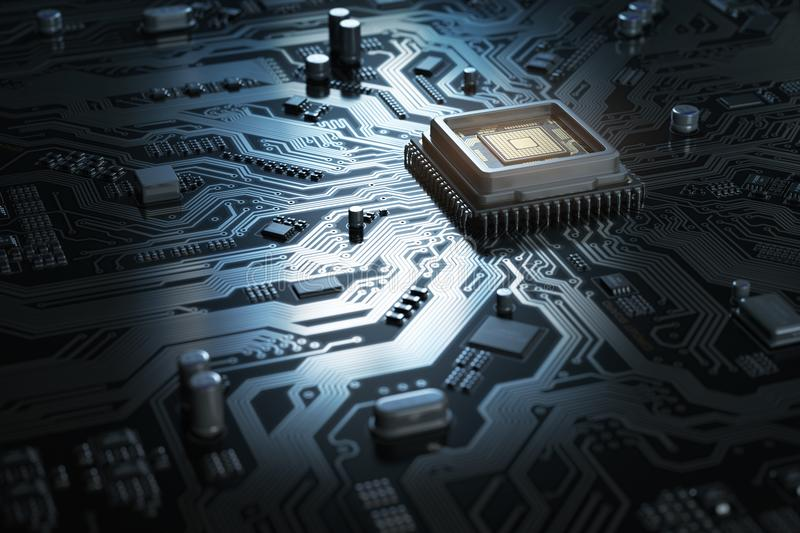 Computer motherboard with CPU. Circuit board system chip with co. Re processor. Computer technology background. 3d illustration stock illustration