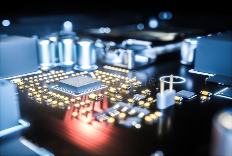 Computer motherboard cpu socket close up . 3d rendering stock illustration