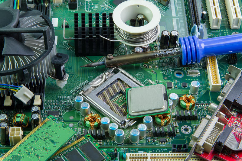 Computer motherboard and equipment repair. royalty free stock images
