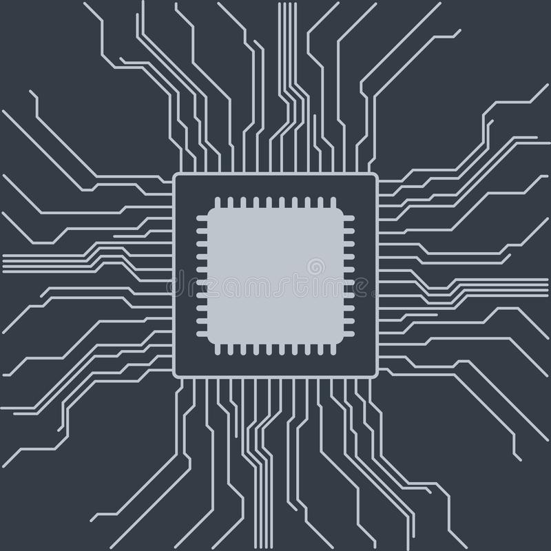 Computer motherboard vector background with circuit board electronic elements. Chip electronic pattern for computer technology,. Motherboard integrated royalty free illustration