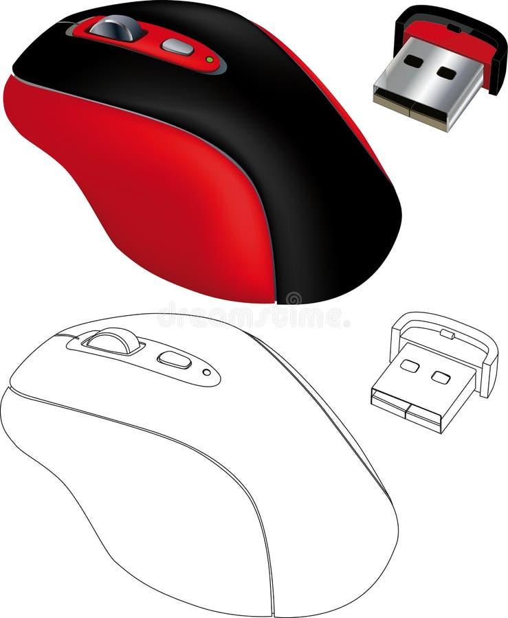 Computer mouse. Technology usb wheel work laser optical vector illustration
