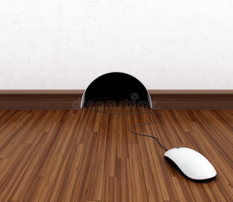 Computer mouse. Hidden in burrow. Fun concept vector illustration