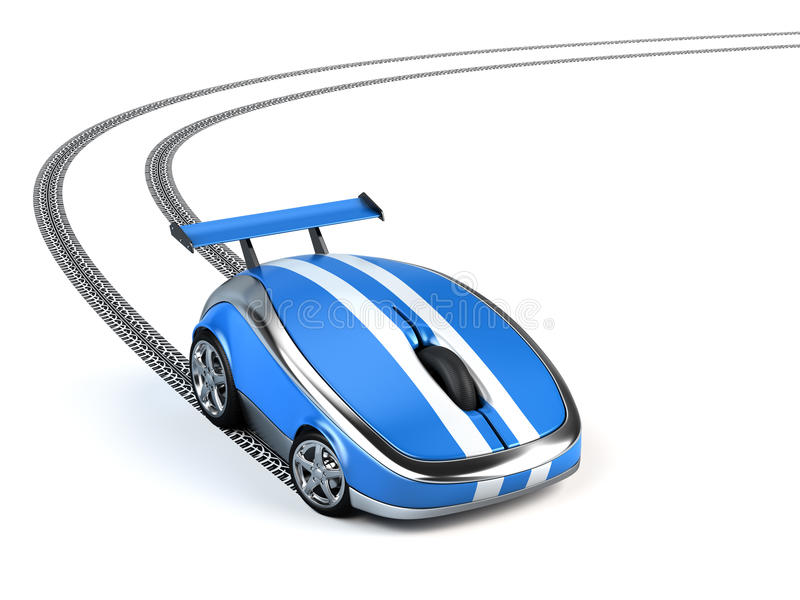 Computer mouse. On wheels concept vector illustration