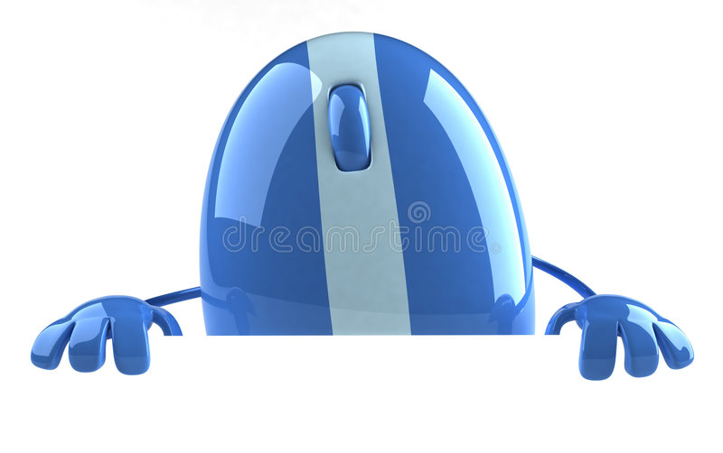 Computer mouse. With a blank sign royalty free illustration