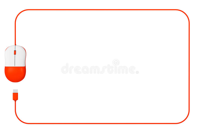 Computer Mouse as Frame with blank space for your text. On a white background stock illustration
