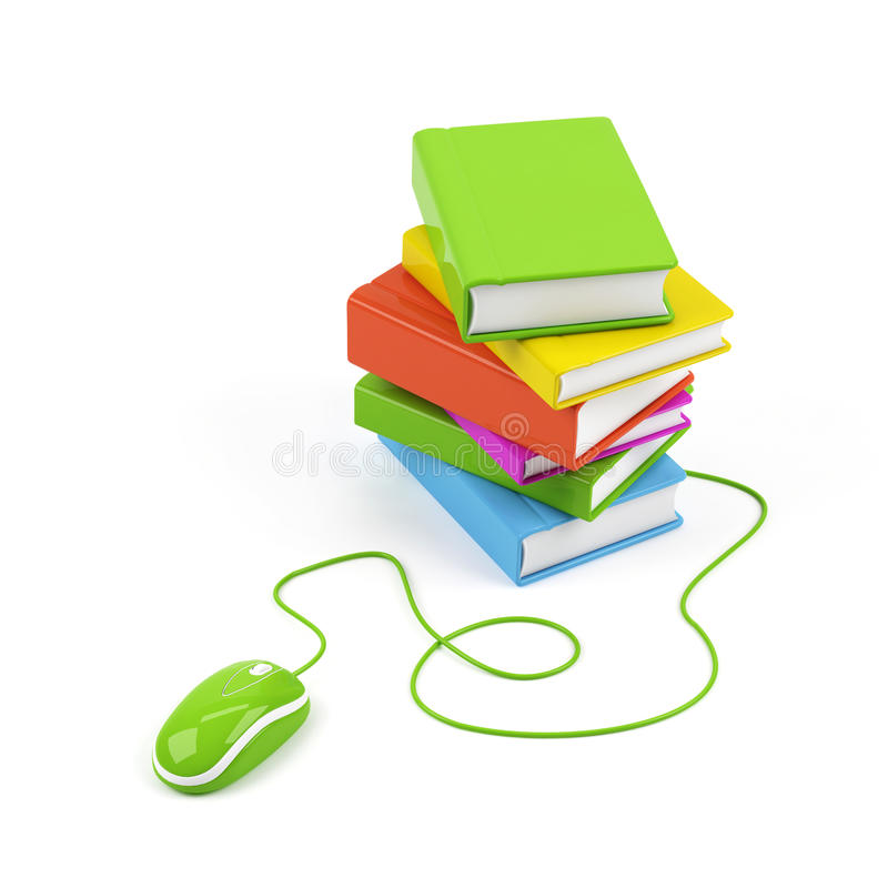 Computer mouse and books - e-learning concept. stock illustration