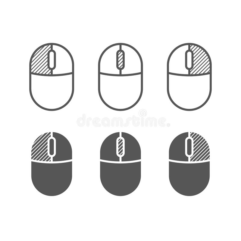 Computer mouse buttons icon. One color symbols. Left and right clicks, scroll wheel symbols royalty free illustration