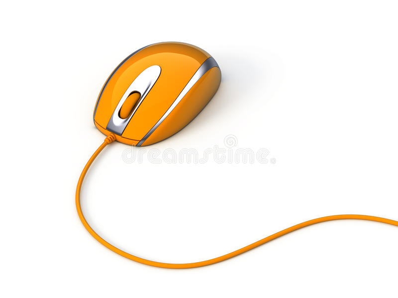 Computer mouse with cable. Isolated royalty free illustration