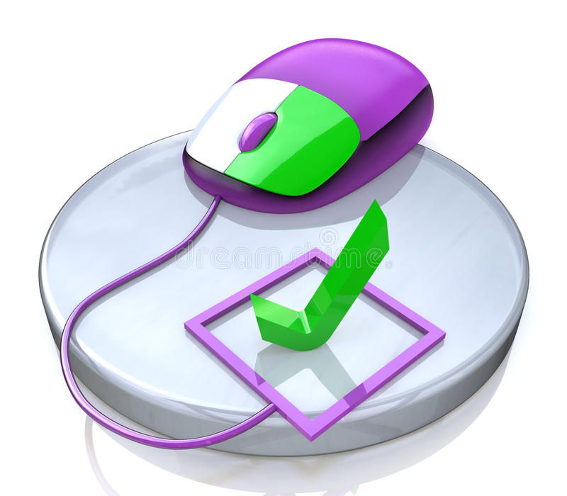 Computer mouse and check mark. In the design of the information related to checking royalty free illustration